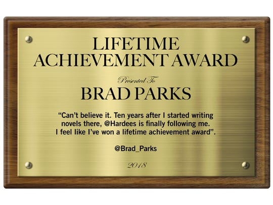 A plaque made for author Brad Parks to be hung at the Staunton Hardee's.