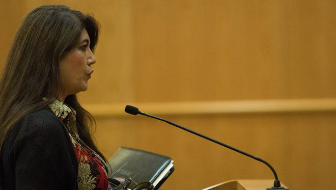 Betty Bishop, chairwoman of the Doña Ana County Republican Party, addresses the Doña Ana County Commission during a commission meeting in this file photo from May 8, 2018.
