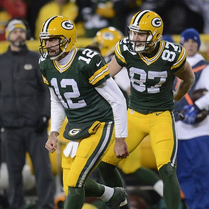 Green Bay Packers' Aaron Rodgers and Jordy Nelson celebrate