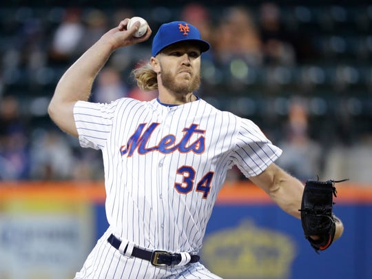 Noah Syndergaard is scheduled to pitch for the Mets on Monday night against the Philadelphia Phillies.