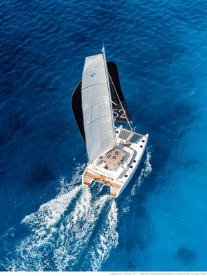 The Lagoon 52 sails under a fully battened main with