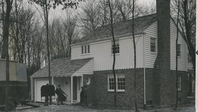 """From the Detroit Free Press archives, this photo, captioned """"First Ford Foundation house built in Springwells,"""" was taken April 18, 1940."""
