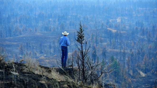 Tim Weyer of the Calf Creek Cattle Ranch tours his ranch, which was consumed by the 270,000-acres  Lodgepole Complex Fire in 2017. While he was able to save his home, much of his grazing land was burned in the fire leaving him struggling to find suitable grazing land for his 350 head of cattle. The threat of fire to Western sagebrush lands is growing, often coming with infrastructure loss (troughs, fencing, roads, buildings, powerlines, etc.) and the loss of hay and livestock.