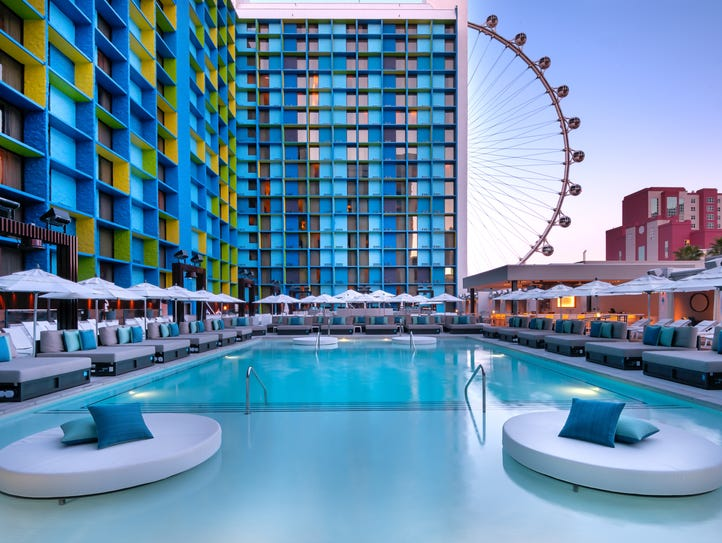 The LINQ Pool deck hosts two pools, 35 daybeds, 24