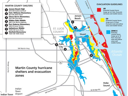 This map shows possible Martin County hurricane shelter
