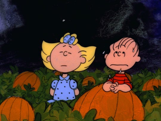 Sally and Linus wait in the pumpkin patch in 'It's