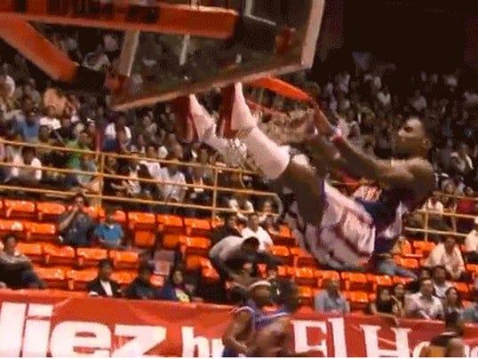 Bull Bullard dunks while basket collapses