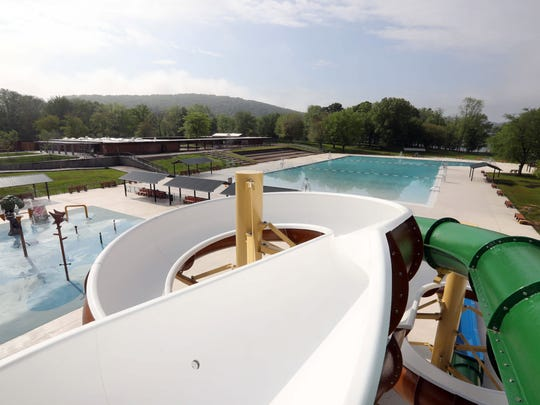 A view of the redesigned pool complex at Rockland Lake State Park, as seen from the top of the new water slide March 23, 2018. Finishing touches are being made to the new complex, which also includes a new pool, spray park, bathhouse, entrance, and concessions. The complex opens this Saturday.
