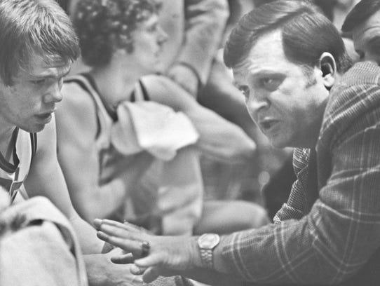 Joe Heath coaches in his last game in 1977, a semistate
