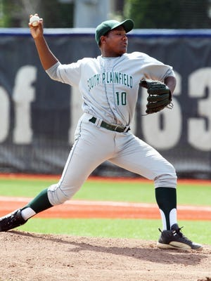 2015 NJSIAA Group III baseball semifinals finds South Plainfield battling Mount Olive at Kean University in Union on Wednesday June 3,2015. South Plainfield's # 10- pitcher Jean Sapini on the mound.