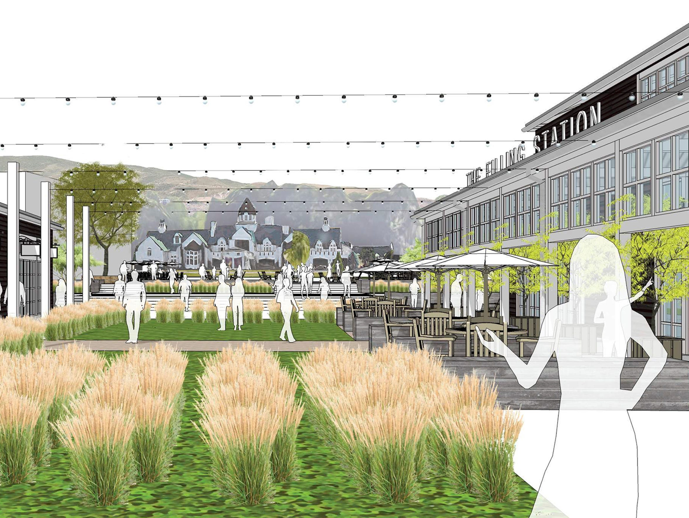 Artist renderings of The Village center at Rancharrah