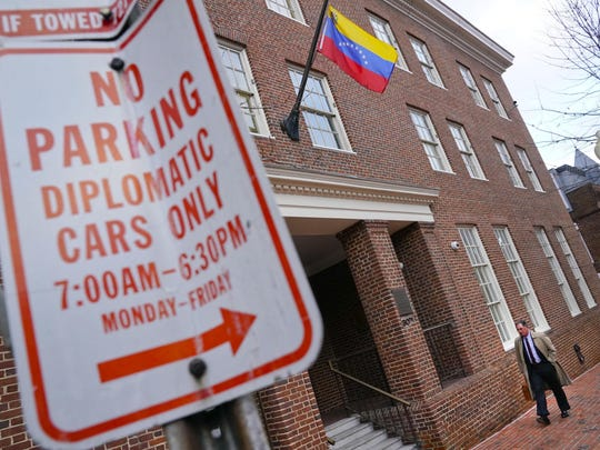 Venezuela's Embassy in Washington, Jan. 24, 2019. Venezuela will close its embassy and all consulates in an announcement one day after Venezuela's President Nicolas Maduro broke off diplomatic relations in response to US recognition of opposition leader Juan Guaido as interim president.