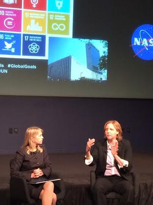 NASA Deputy Administrator Dava Newman, left, listens as U.S. Chief Technology Officer Megan Smith makes a point at a summit exploring women and girls in STEM fields.