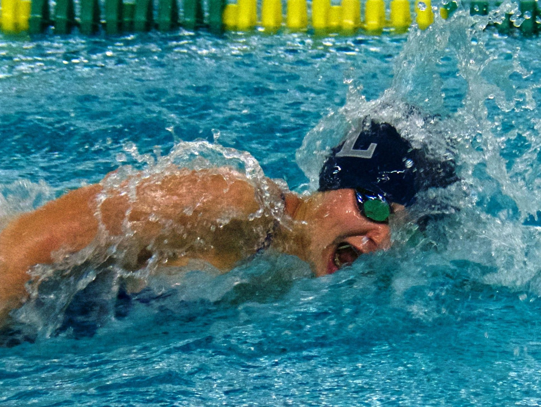 South Lyon's Carolyn Bischoff was victorious in the 50 freestyle.