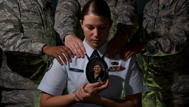 Senior Airman Rose Gudex surrounds herself with her Air Force family from Peterson Air Force Base, Colorado, during difficult times. Gudex didn't have a solid support system before joining the military, but found a family in her brothers and sisters in arms.