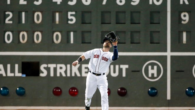 Boston Red Sox's Bryce Brentz makes the catch on a fly out by Los Angeles Angels' Kole Calhoun during the sixth inning of a baseball game in Boston, Saturday, July 2, 2016. (AP Photo/Michael Dwyer)