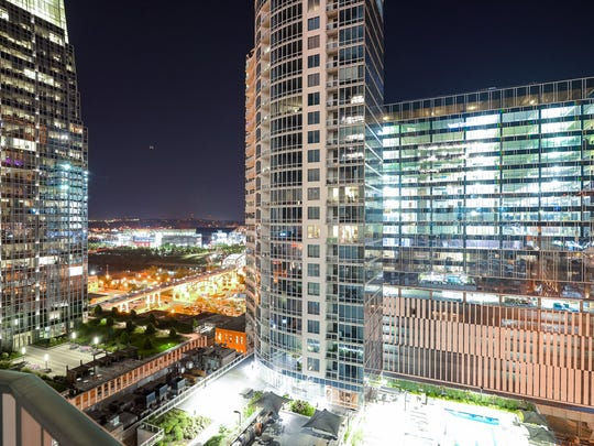 Encore condominiums offer views of the downtown Nashville skyline.
