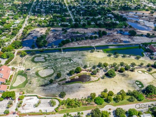 An aerial view of the Fort Myers Country Club golf course renovation taken in August.