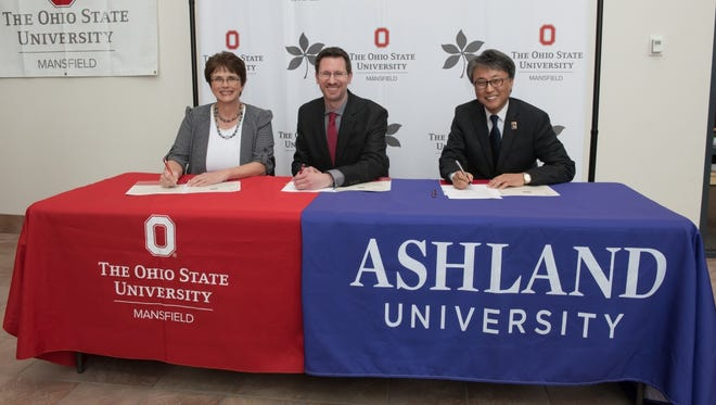 Signing the 2+2 articulation agreement between Ashland University and Ohio State University-Mansfield were, from left, AU Dean of the Dwight Schar College of Nursing and Health Sciences Dr. Faye Grund, OSU-Mansfield Interim Dean and Director Dr. Norman Jones and AU Provost Dr. Eun-Woo Chang.