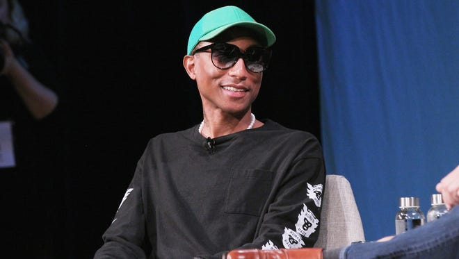 Pharrell Williams speaks onstage for Pharrell Williams and Illumination's Chris Meledandri on Creativity and Collaboration during Day 2 of the Fast Company Innovation Festival, Wednesdy, in New York .