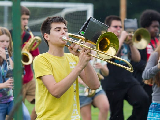 Pennfield band member, Nathan Rea, practices Thursday afternoon.