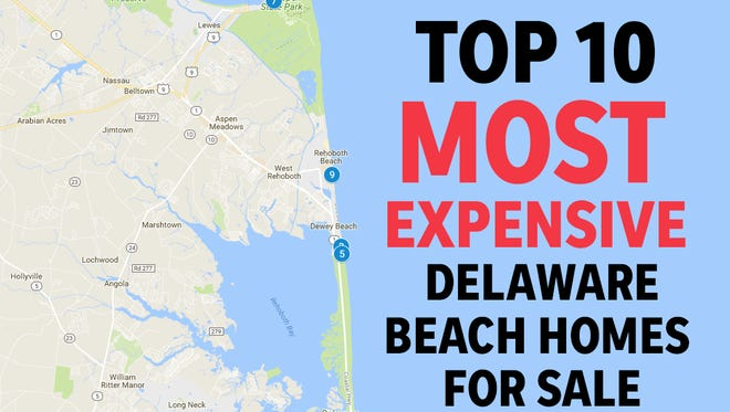 The top 10 most expensive Delaware beach homes for sale as of July 2018.