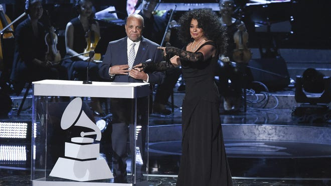 """Berry Gordy and Diana Ross at the """"Motown 60: A Grammy Celebration"""" at the Microsoft Theater in February in Los Angeles."""