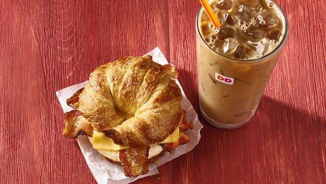 Dunkin' Donuts Maple Pecan Iced Coffee and Maple Sugar Bacon Breakfast Sandwich.