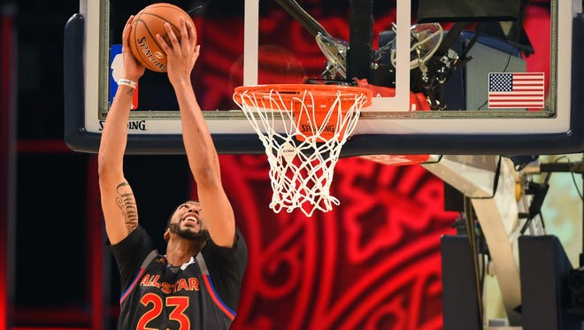 Western Conference forward Anthony Davis of the New Orleans Pelicans (23) set the record for most points in an All Star Game.