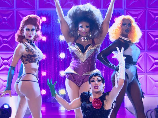 "Wilmington native Peppermint (center), a contestant on VH1's ""RuPaul's Drag Race,"" with her fellow finalists."