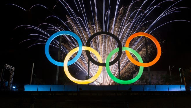 Olympic rings on display in Rio.