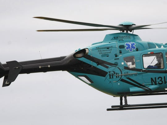 An Atlantic Air Ambulance Helicopter flies from Morristown Medical Center in 2012