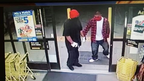 Police are seeking two suspects in an armed robbery Monday night at the General Dollar in Farmington. The suspects are depicted in surveillance footage released by the Farmington Police Department.
