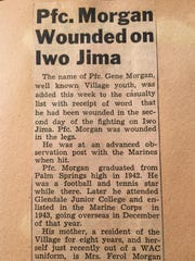 A Desert Sun story reported Gene Morgan was wounded in combat on Iwo Jima during World War II.