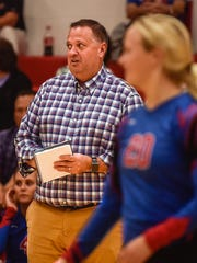 Highland coach Rob Terrill watches during a volleyball match at Elgin. Terrill, who coached as an assistant at Elgin in the 1990s, has the Scots undefeated and ranked No. 4 in the latest Division III state coaches poll.