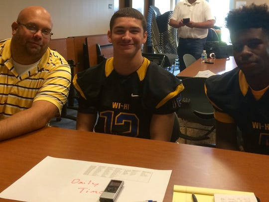 From left to right, Wi-Hi football's Brian Hanson,