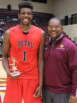 Petal's Tirus Smith, left, a 6-foot-7 UTEP signee, was named MVP of the South Mississippi High School All-Star Classic senior boys game after scoring 11 points and grabbing 11 rebounds in a losing cause for the East.