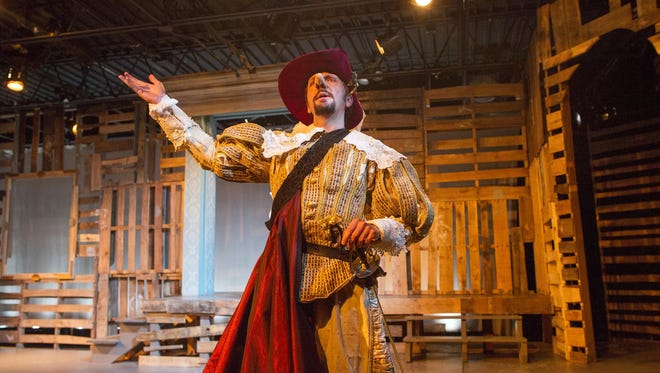 """Steve Marzolf rehearses a scene from """"Cyrano"""" at Riverside Theatre on Monday, June 15, 2015."""
