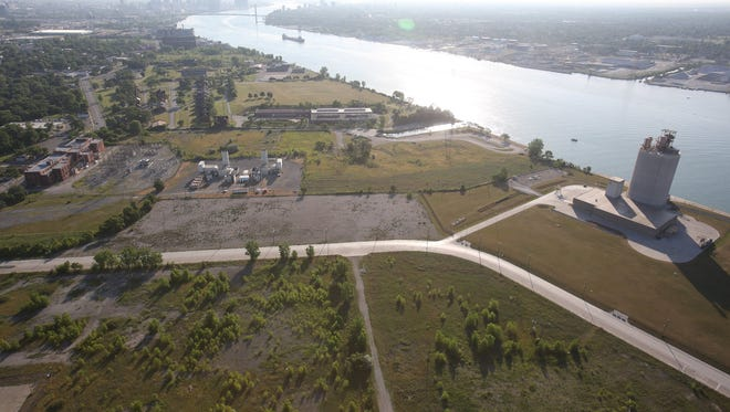 Aerial view of the Delray neighborhood in Detroit, where the new bridge to Canada and its service plaza are planned.