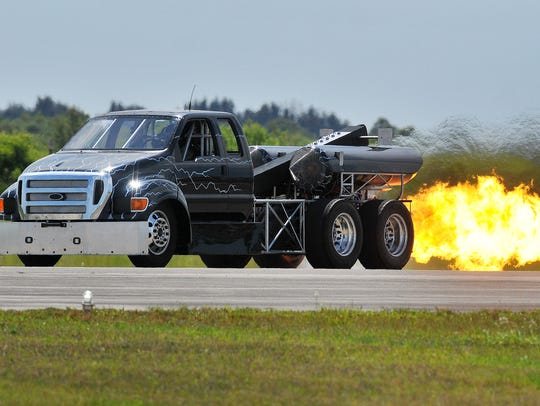 The Home Wrecker Jet Truck has performed at many events, including the Melbourne Air and Space Show, as shown here in a file photo.