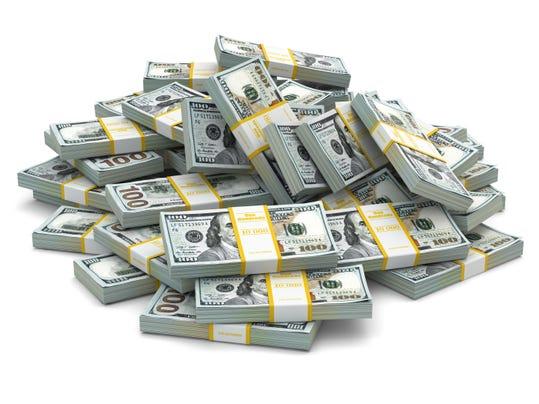 Heap of packs dollars. Lots cash money.