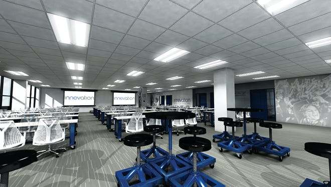 A rendering of the collaborative workspaces of the University of Nevada, Reno Innevation Center powered by Switch.
