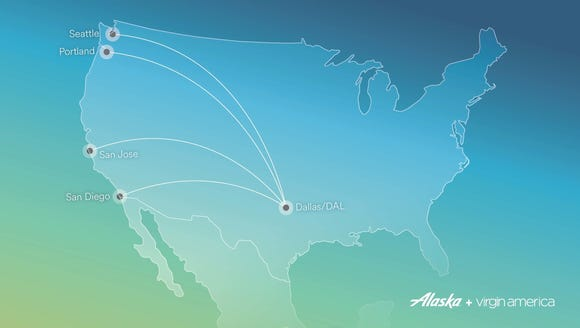 This map, provided by Alaska Airlines, shows four new