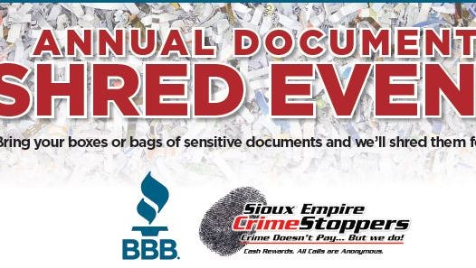 A shred event will be held April 26.