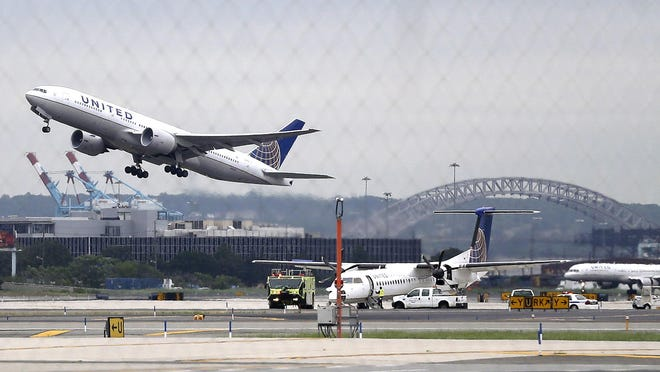 United controls 68 percent of the seats flying out of Newark Liberty International Airport. A United jet takes off from Newark in this 2013 file photo.