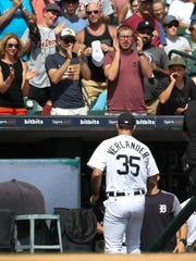 Justin Verlander gets a standing ovation from Tigers fans at Comerica Park after pitching the top of the eighth inning against the Dodgers on Sunday, Aug. 20, 2017.