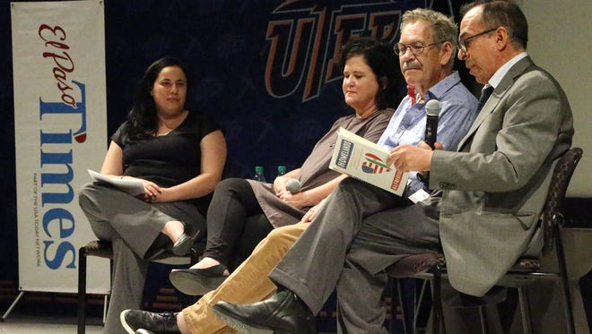 """Journalist/author Alfredo Corchado, right, reads a passage from his new book titled """"Homelands"""" during a Times Live event Thursday night at UTEP. Other guests are El Paso author Benjamin Alire Saenz, center, and Kerry Doyle, director of the Stanlee and Gerald Rubin Center for the Visual Arts. Moderating at left is El Paso Times editor Zahira Torres."""