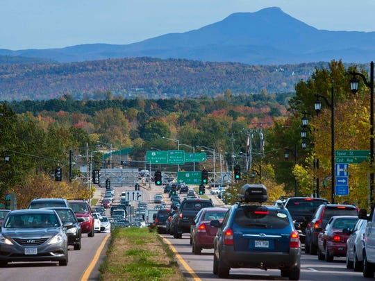 Motorists stuck in traffic on Main Street in Burlington could console themselves with a view of Camels Hump and near-peak foliage conditions on Friday, Oct. 11, 2013.