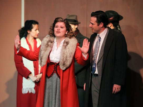 Emileigh Kershaw, front left, rehearses as scene from
