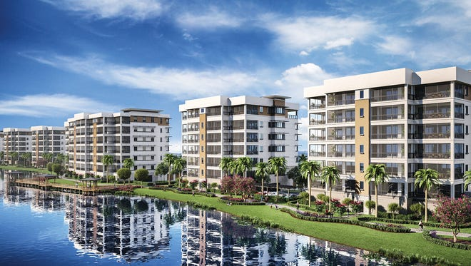 Moorings Park Grande Lake features mid-rise residences and spacious penthouses, many offering lake and golf course views.